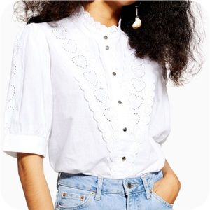Topshop NWT White Heart Broderie Blouse US 6